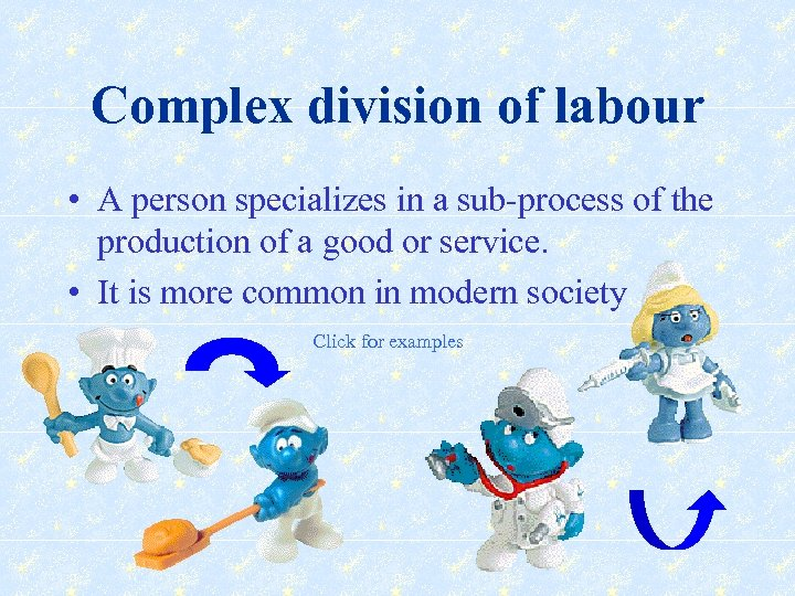 Complex division of labour • A person specializes in a sub-process of the production