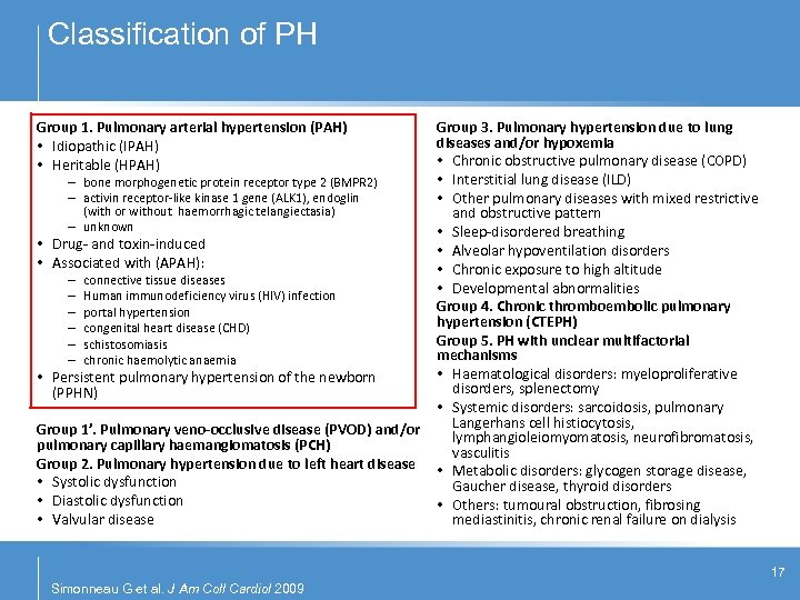 Classification of PH Group 1. Pulmonary arterial hypertension (PAH) • Idiopathic (IPAH) • Heritable