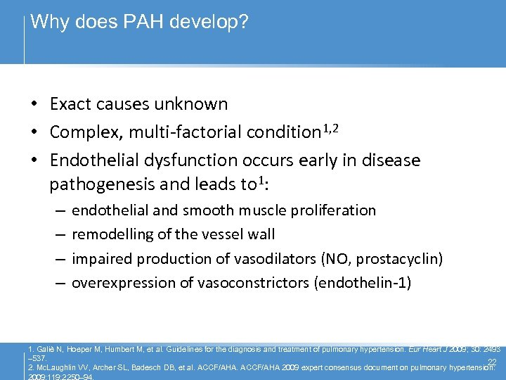 Why does PAH develop? • Exact causes unknown • Complex, multi-factorial condition 1, 2