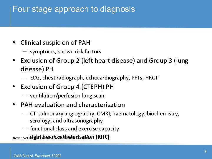Four stage approach to diagnosis • Clinical suspicion of PAH – symptoms, known risk