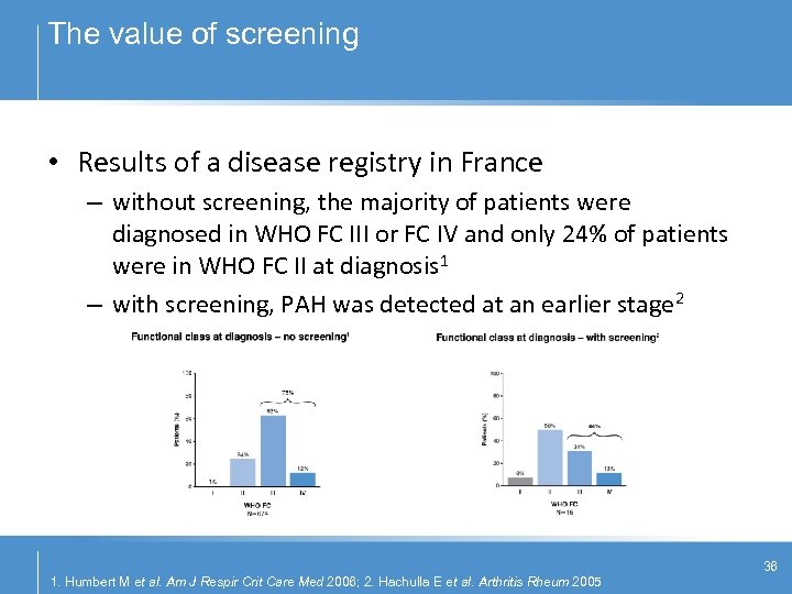 The value of screening • Results of a disease registry in France – without