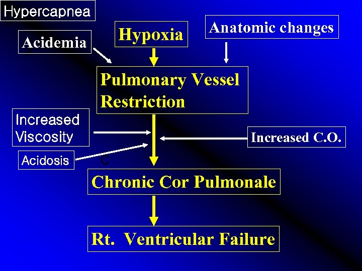 Hypercapnea H Hypoxia Acidemia Anatomic changes A Pulmonary Vessel Restriction Increased Viscosity Acidosis Increased
