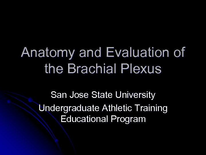 Anatomy and Evaluation of the Brachial Plexus San Jose State University Undergraduate Athletic Training