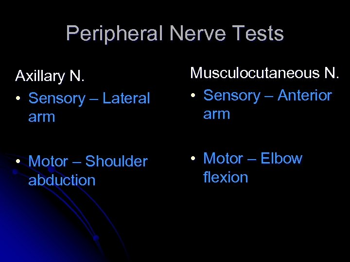 Peripheral Nerve Tests Axillary N. • Sensory – Lateral arm Musculocutaneous N. • Sensory