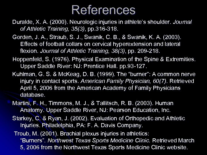 References Duralde, X. A. (2000). Neurologic injuries in athlete's shoulder. Journal of Athletic Training,