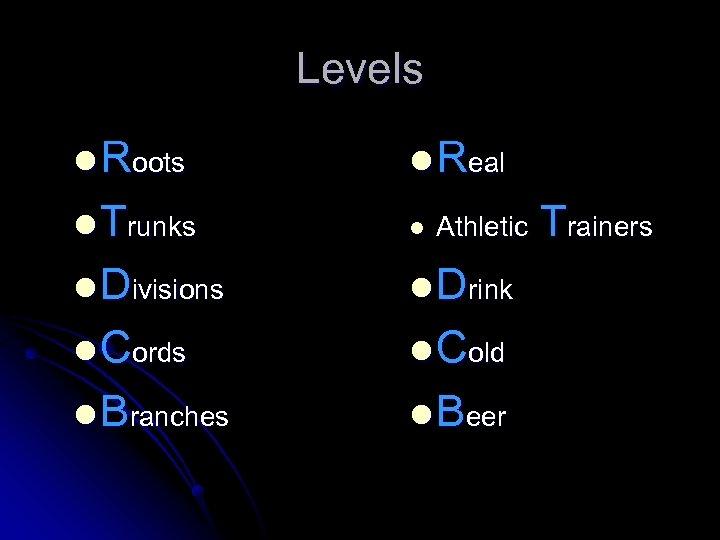 Levels l Roots l Real l Trunks l l Divisions l Drink l Cords