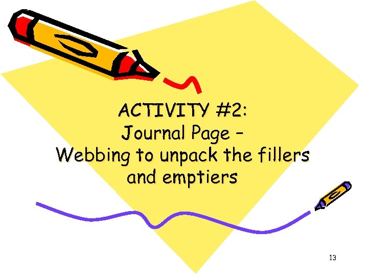 ACTIVITY #2: Journal Page – Webbing to unpack the fillers and emptiers 13