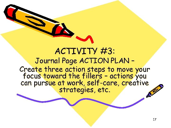 ACTIVITY #3: Journal Page ACTION PLAN – Create three action steps to move your