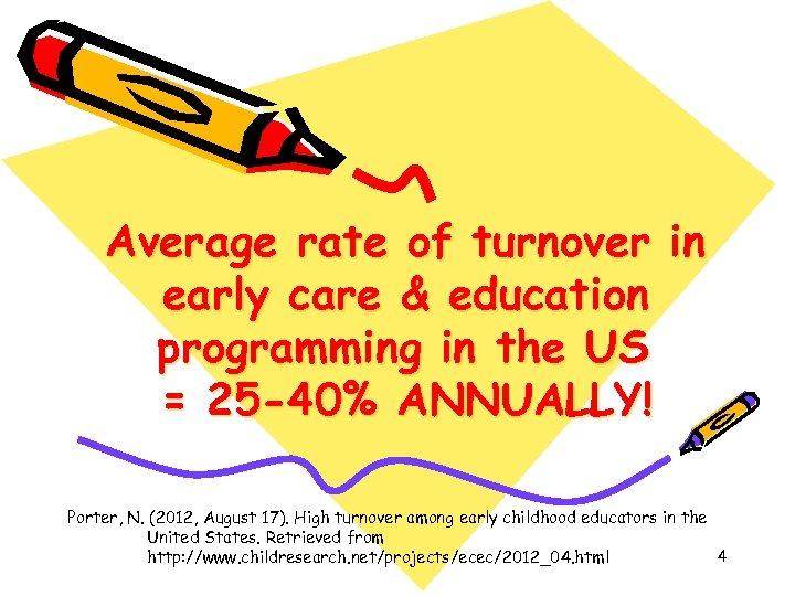 Average rate of turnover in early care & education programming in the US =