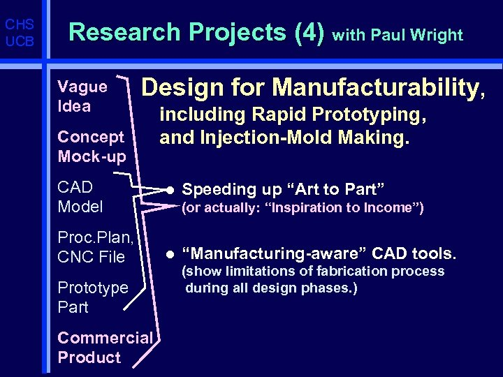 CHS UCB Research Projects (4) with Paul Wright Vague Idea Design for Manufacturability, Concept