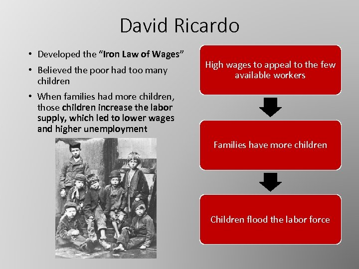 """David Ricardo • Developed the """"Iron Law of Wages"""" • Believed the poor had"""