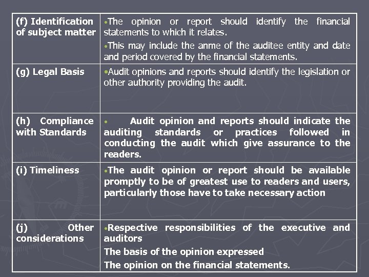 (f) Identification • The opinion or report should identify the of subject matter statements