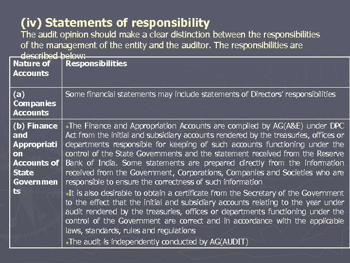 (iv) Statements of responsibility The audit opinion should make a clear distinction between the