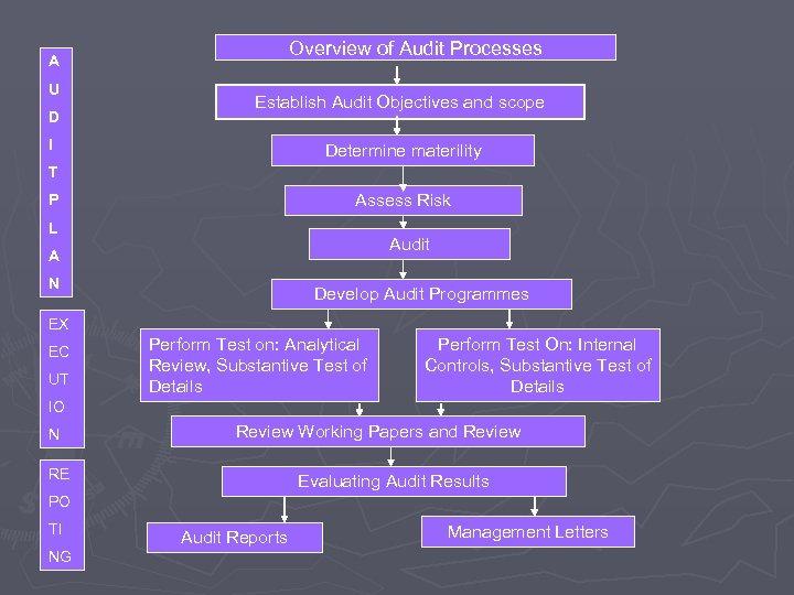 Overview of Audit Processes A U D Establish Audit Objectives and scope I Determine