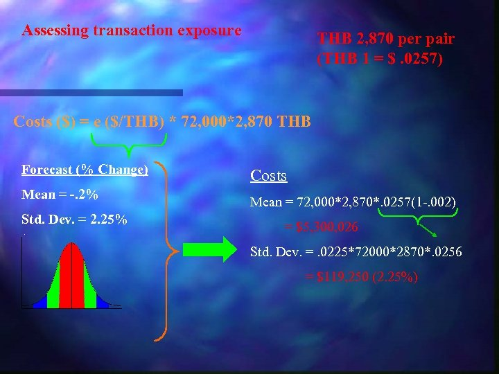 Assessing transaction exposure THB 2, 870 per pair (THB 1 = $. 0257) Costs