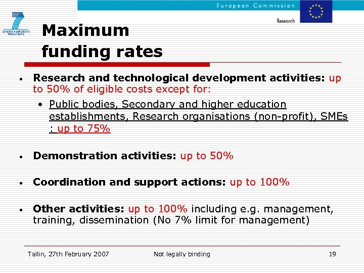 Maximum funding rates • Research and technological development activities: up to 50% of eligible