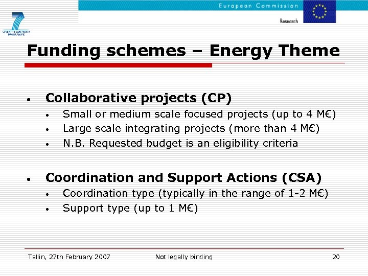 Funding schemes – Energy Theme • Collaborative projects (CP) • • Small or medium