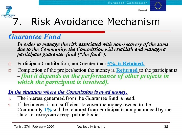 7. Risk Avoidance Mechanism Guarantee Fund In order to manage the risk associated with