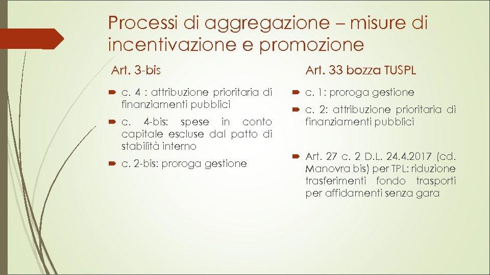 Processi di aggregazione – misure di incentivazione e promozione Art. 3 -bis c. 4
