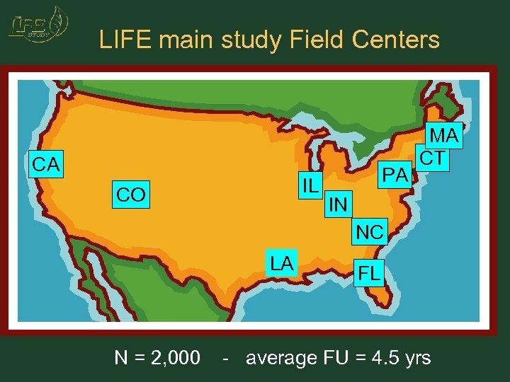 LIFE main study Field Centers CA IL CO PA MA CT IN NC LA