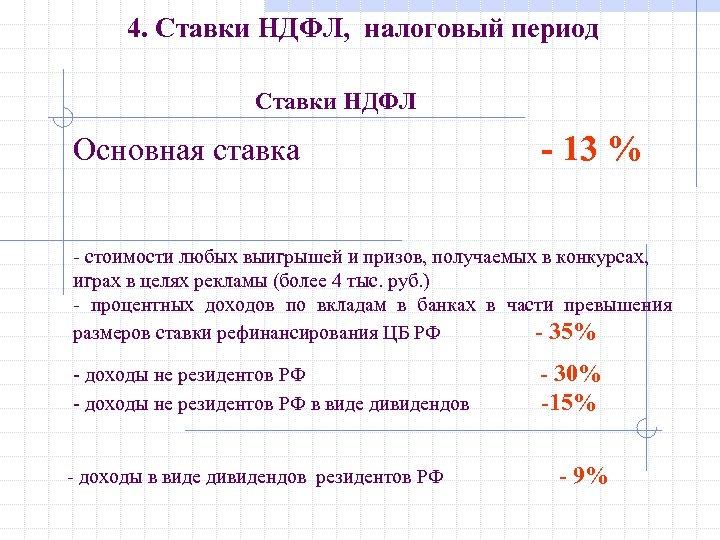 4. Ставки НДФЛ, налоговый период Ставки НДФЛ Основная ставка - 13 % - стоимости