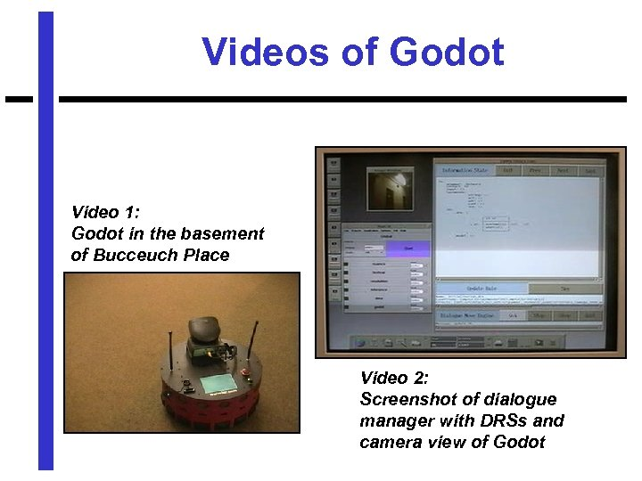 Videos of Godot Video 1: Godot in the basement of Bucceuch Place Video 2: