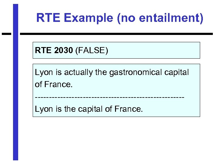 RTE Example (no entailment) RTE 2030 (FALSE) Lyon is actually the gastronomical capital of