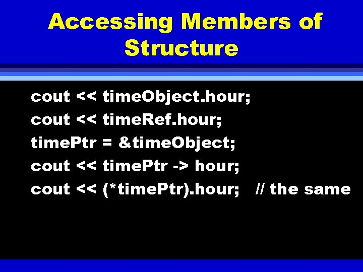 Accessing Members of Structure cout << time. Object. hour; cout << time. Ref. hour;