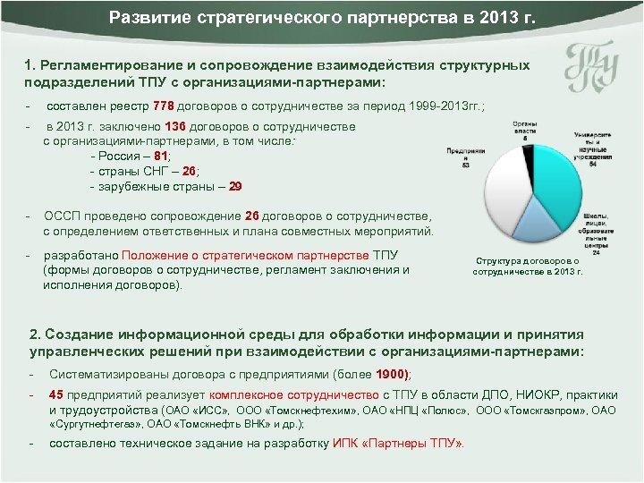 Развитие стратегического партнерства в 2013 г. 1. Регламентирование и сопровождение взаимодействия структурных подразделений ТПУ