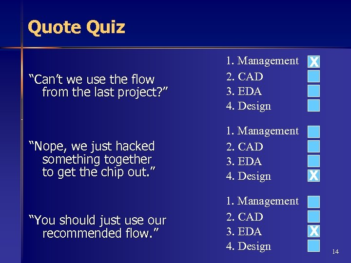 "Quote Quiz ""Can't we use the flow from the last project? "" 1. Management"