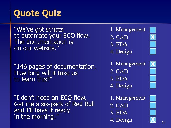 "Quote Quiz ""We've got scripts to automate your ECO flow. The documentation is on"