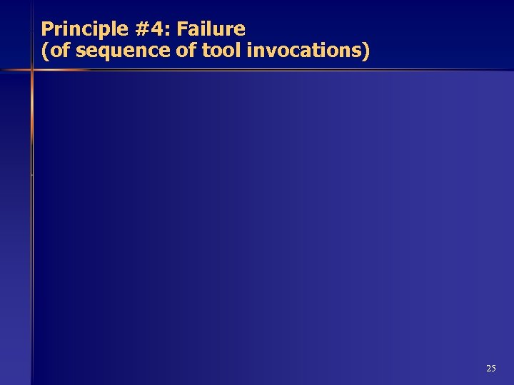 Principle #4: Failure (of sequence of tool invocations) 25