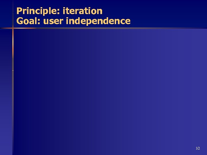 Principle: iteration Goal: user independence 32