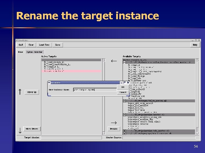 Rename the target instance 54