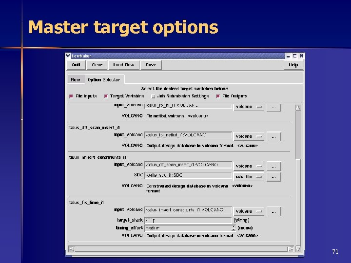 Master target options 71