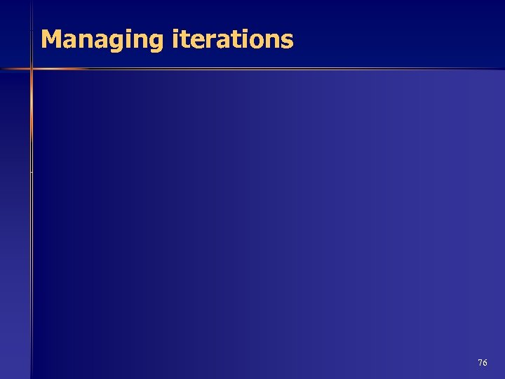 Managing iterations 76