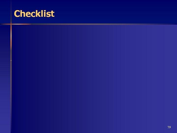 Checklist 79