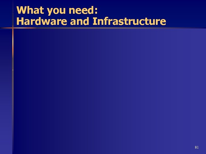 What you need: Hardware and Infrastructure 81