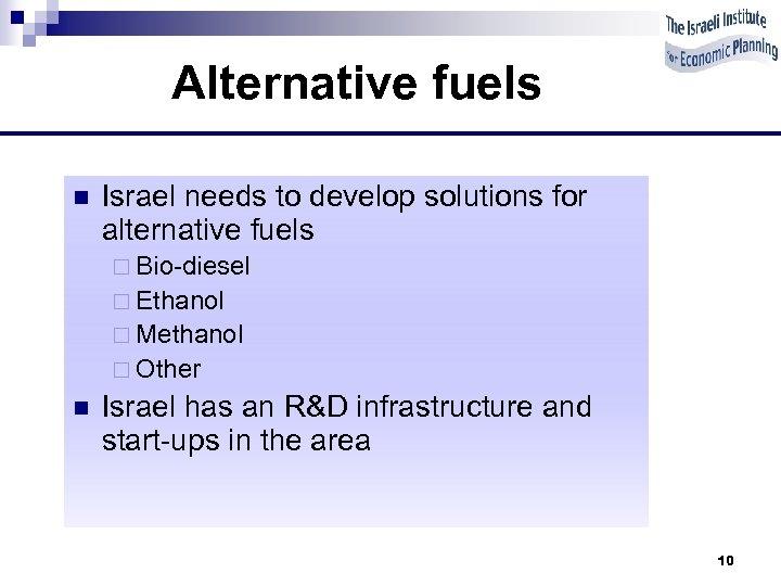 Alternative fuels n Israel needs to develop solutions for alternative fuels ¨ Bio-diesel ¨