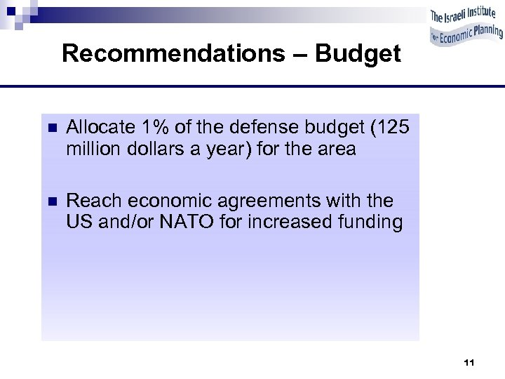 Recommendations – Budget n Allocate 1% of the defense budget (125 million dollars a