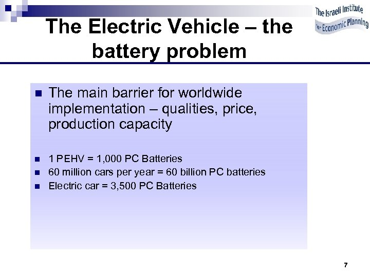The Electric Vehicle – the battery problem n The main barrier for worldwide implementation