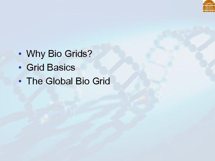 • Why Bio Grids? • Grid Basics • The Global Bio Grid