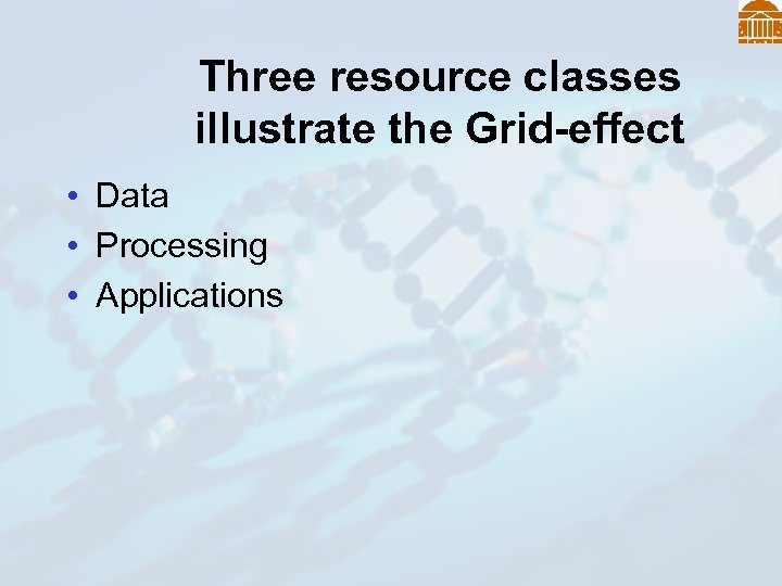Three resource classes illustrate the Grid-effect • Data • Processing • Applications