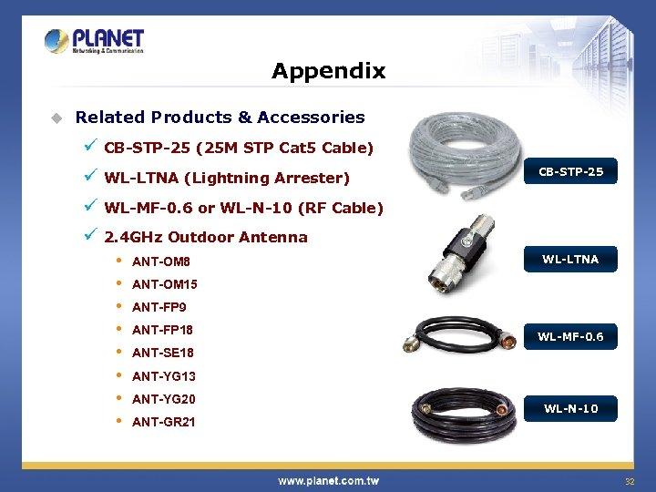 Appendix u Related Products & Accessories ü CB-STP-25 (25 M STP Cat 5 Cable)