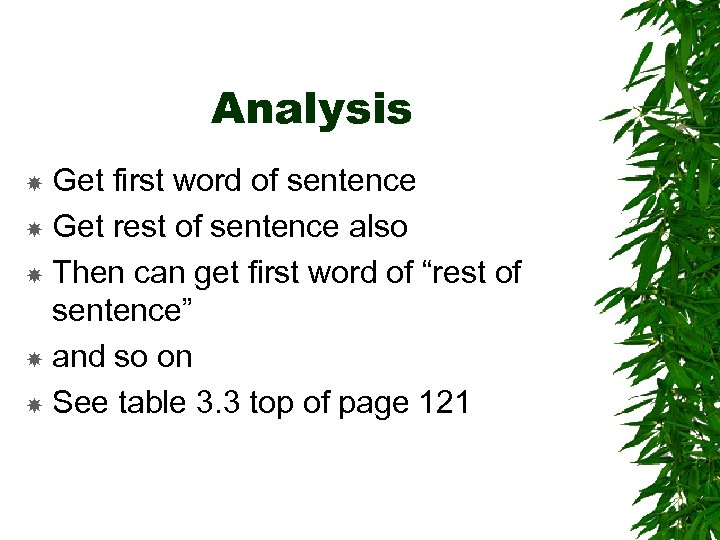 Analysis Get first word of sentence Get rest of sentence also Then can get