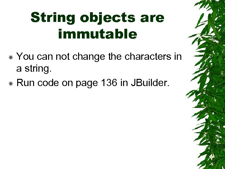 String objects are immutable You can not change the characters in a string. Run