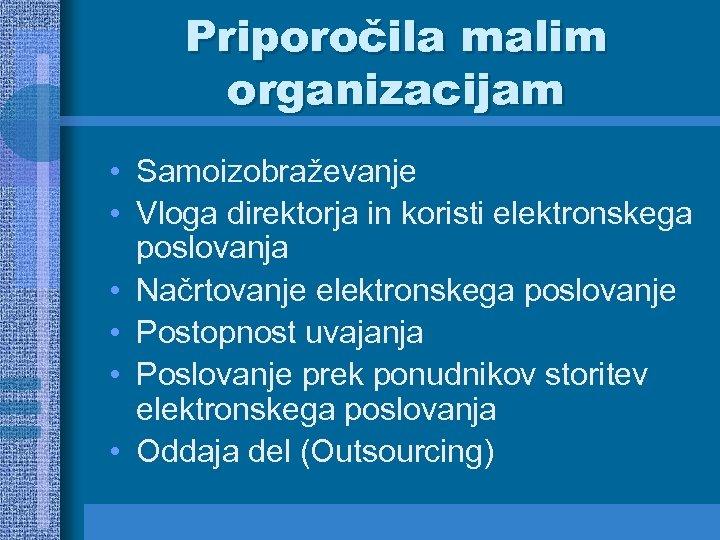 Priporočila malim organizacijam • Samoizobraževanje • Vloga direktorja in koristi elektronskega poslovanja • Načrtovanje