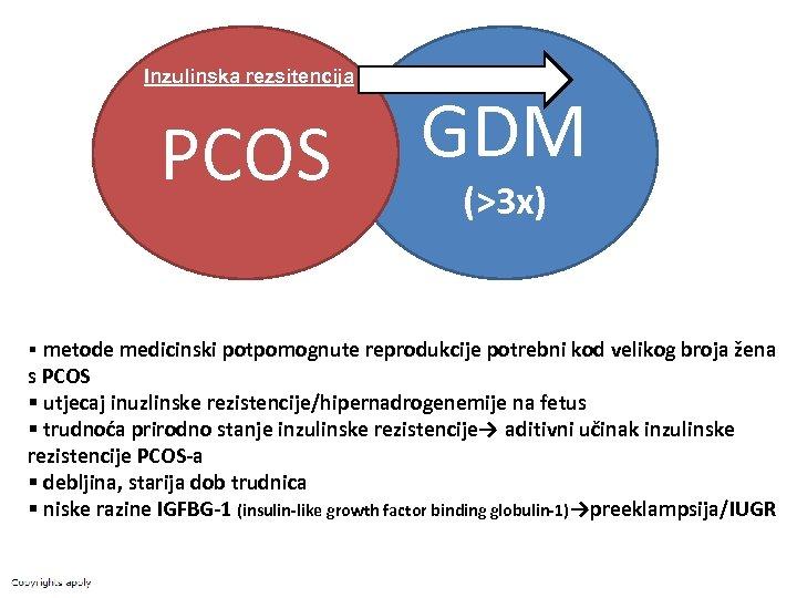 Inzulinska rezsitencija PCOS GDM (>3 x) § metode medicinski potpomognute reprodukcije potrebni kod velikog