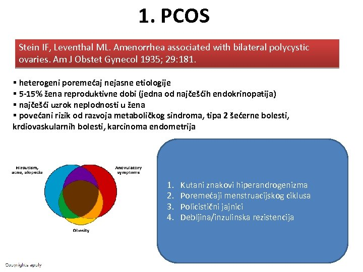 1. PCOS Stein IF, Leventhal ML. Amenorrhea associated with bilateral polycystic ovaries. Am J