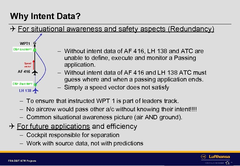 Why Intent Data? Q For situational awareness and safety aspects (Redundancy) WPT 1 C&P